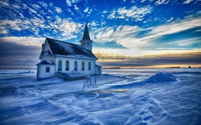 Обои снег, церковь, зима, зарево, небо, облака
