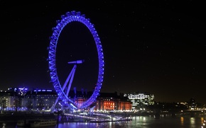 Обои London Eye, огни, photographer, Paulo Ebling, ночь, Лондон, город