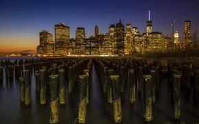 Картинка USA, United States, skyline, sunset, New York, Manhattan, NYC, New York City, Lower Manhattan, buildings, …