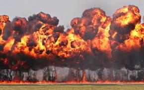 Обои фон, огонь, дым, взрывы, пыль