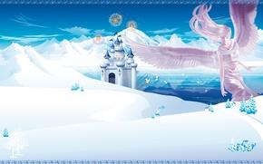 Обои ангел, зима, горы, аниме, замок
