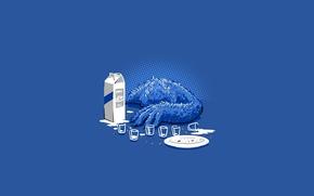 Обои синий, молоко, печенье, monster, blue, Коржик, Sesame Street, печеньевое чудовище, Улица Сезам, Cookie