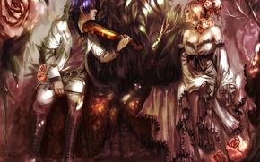 Картинка девушка, цветы, скрипка, розы, аниме, арт, парень, genki-de