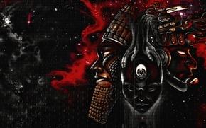 Картинка космос, стена, граффити, лица, Graffiti, Фантастика