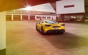 Картинка авто, желтый, Ferrari, феррари, вид сзади, Rosso, Novitec, 488 GTB