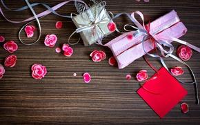 Картинка бумага, ленты, праздник, лепестки, подарки, розовые, коробочки