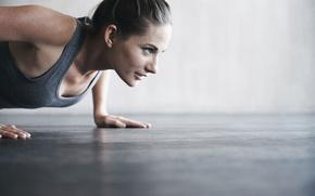 Обои woman, workout, fitness, pushups