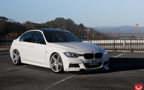 Картинка car, bmw, white, tuning, vossen, 3 Series, f30, Vossen Wheels
