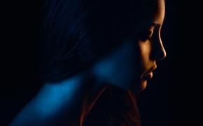 Картинка портрет, девушка, силуэт, flash, освещение, профиль, color