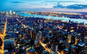Картинка город, огни, река, небоскребы, вечер, New York