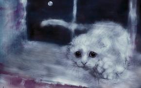 Картинка кошка, взгляд, луна, рисунок, окно, арт, белая, подоконник, Александр Кожухов