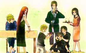 Картинка аниме, арт, Наруто, Naruto, Uchiha Itachi, Uchiha Sasuke, семьи, Naruto Uzumaki, Uzumaki Kushina, Namikaze Minato, …