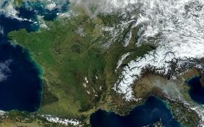 Картинка фото, Франция, Земля, Европа, NASA