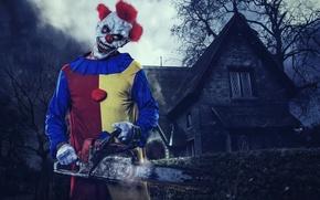 Картинка дом, клоун, маска, хэллоуин, halloween, бензопила, clown, Halloween Killerclown, Stihl