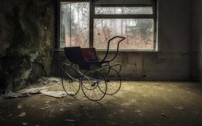 Обои комната, коляска, окно