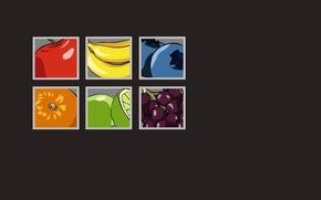 Картинка яблоко, апельсин, квадраты, виноград, бананы, фрукты, грейпфрут, голубика, серый фон