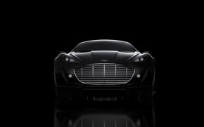 Картинка Aston Martin, Черный, Машина, Концепт, Решетка, Gauntlet, Передок