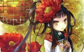 Картинка девушка, цветы, аниме, арт, косички, кимоно, katagiri hinata