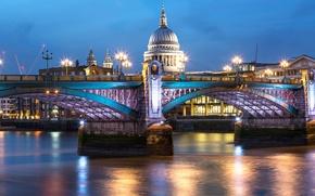 Картинка небо, вода, city, город, огни, отражение, река, Англия, Лондон, здания, дома, вечер, освещение, подсветка, фонари, …