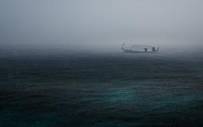 Картинка море, гроза, дождь, лодка