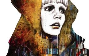 Обои голова, лицо, волосы, рисунок, фигуры, девушка, губы, нос