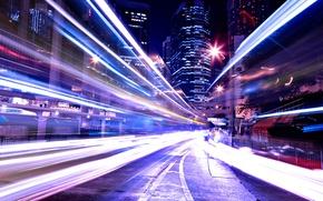 Картинка ночь, огни, здания, трасса, высокая выдержка