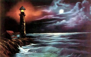 Картинка море, вода, пейзаж, ночь, океан, луна, берег, волна, маяк, картина, живопись, Bob Ross, Боб Росс