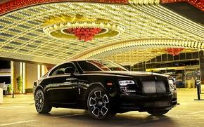 Обои car, свет, огни, отражение, Rolls-Royce, автомобиль, роскошь, beautiful, передок, luxury, роллс-ройс, Wraith, Black Badge