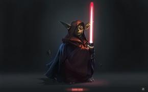 Картинка осколки, сила, Star Wars, Dark Side, Йода, световой меч, балахон, левитация, Darth Yoda