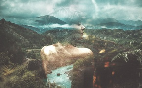 Обои double exposure, forest, clouds, river, girl, hills