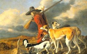 Картинка собаки, картина, Охотник, жанровая, Adriaen Cornelisz Beeldemaker