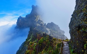 Обои облака, горы, скалы, Португалия, Мадейра