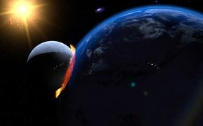 Картинка Солнце, Звезды, Луна, Огонь, Взрыв, Свет, Земля, Конец, Конец света, Времен, Сатана