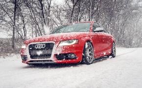 Картинка зима, снег, Audi, ауди, red, красная, winter