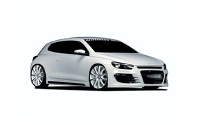 Картинка белый, тюнинг, Volkswagen, фольксваген, Scirocco, 2013, Rieger, сирокко