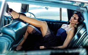 Картинка модель, Morena Baccarin, актриса, брюнетка, в машине, Морена Баккарин