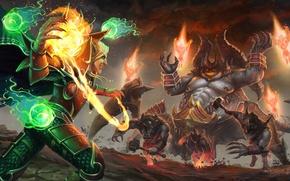 Обои эльф, демон, diablo, warcraft, Heroes of the Storm, moba, Azmodan, Kael'thas