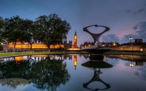 Картинка ночь, англия, лондон, london, night, england, Big ben