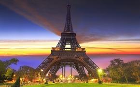 Картинка Париж, Эйфелева башня, фонари, парк, город
