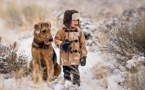 Картинка снег, собака, мальчик, друзья