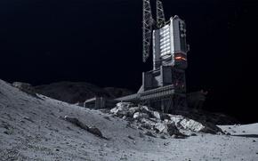 Обои space station, луна, фантастика, космос, здание