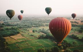 Обои воздушные шары, небо, земля