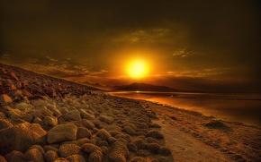Картинка солнце, озеро, восход, iran