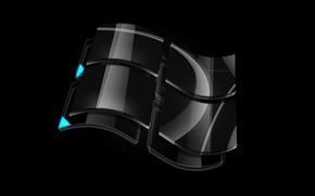 Обои windows, стекло, логотип, черный