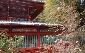Картинка листва, Япония, храм, Japan, роспись