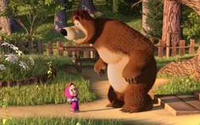 Обои маша, медведь, фильмы, кино, мульфильм, фильм