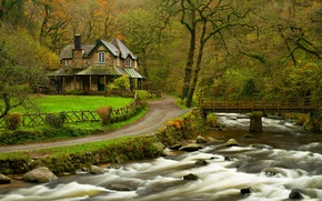 Обои nature, house, home, river, water, forest, park, trees, bridge