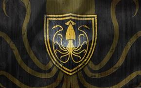 Картинка осьминог, книга, сериал, герб, A Song of Ice and Fire, Game of Thrones, Игра престолов, …