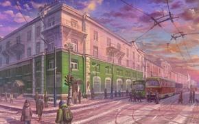 Картинка зима, город, улица, перекресток, трамвай, art, прохожие