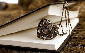 Картинка камни, узор, сердце, размытость, кулон, книга, цепочка